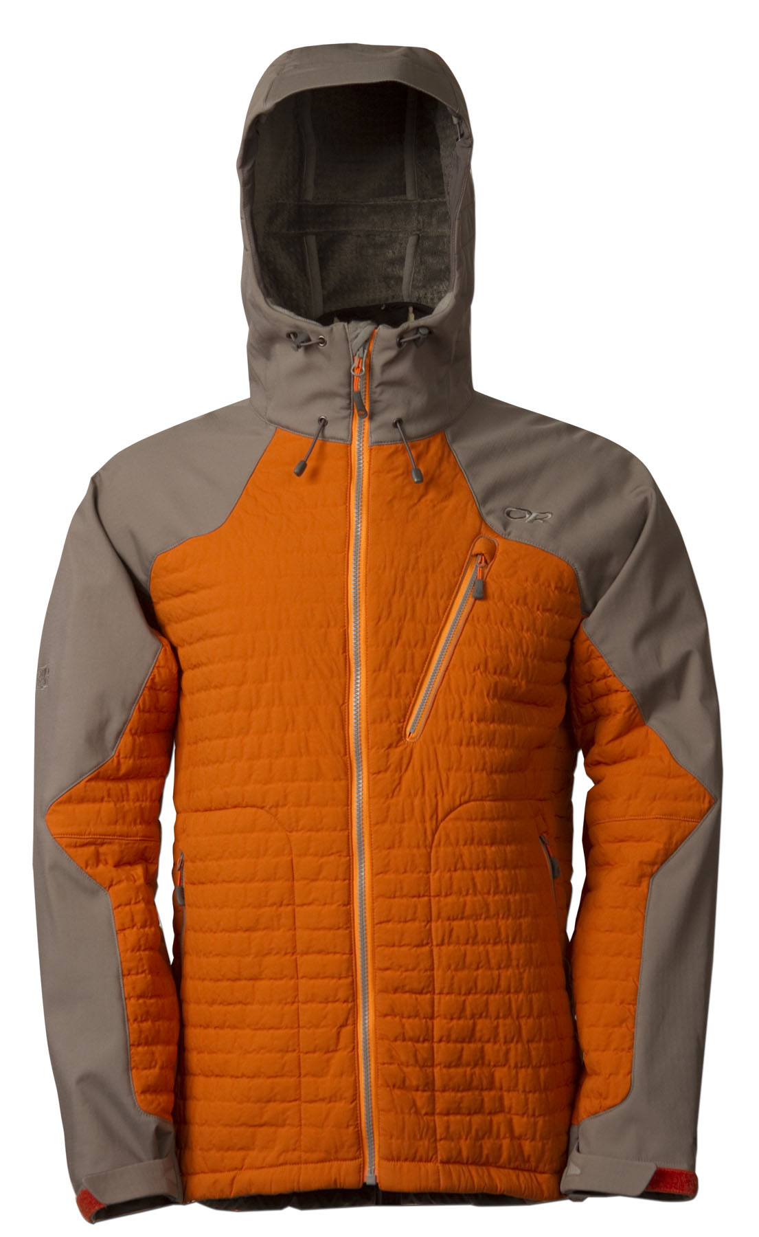 Outdoor Research Lodestar Jacket - Melding the warmth of a puffy with the moisture-wicking properties of fleece and the protection of a soft shell, the Lodestar Jacket and Pant were built for ice and alpine climbing in cold climates. They employ new Polartecr Power Shieldr High Loft², the warmest, lightest and most compressible softshell fabric, and Polartecr Power Shieldr Pro, the ultimate soft shell, in key areas for increased weather protection and warmth while maintaining critical breathability. The result allows climbers to eliminate layers, improve freedom of movement, and transport moisture more effectively through a wider range of cold temperatures and weather conditions.