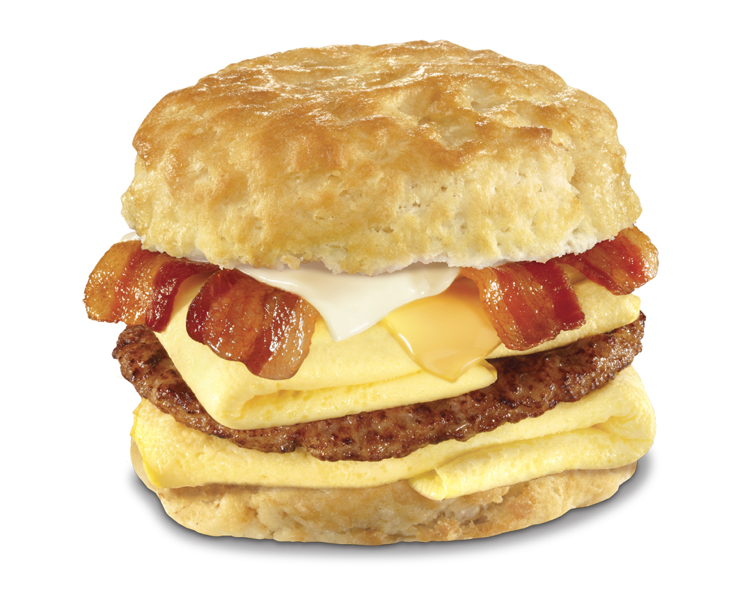 The Monster Biscuit at Carl's Jr. features bacon, sausage, ham, eggs and two slices of cheese between a fresh Made From Scratch Biscuit.