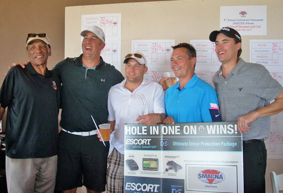 Pictured are: (l-r) Former NFL standout Larry Walton, Brad Hoeder, John Pearson, Greg Wille and John Krhin made up the winning team at the SMACNA's Ninth Annual Invitational Golf Tournament. Wille made a hole-in-one on the 14th hole at McDowell Mountain.