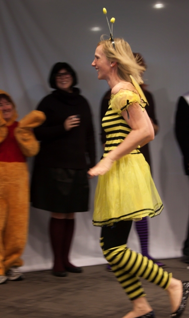 DaVita Vice President of Special Projects Anne Baily takes third place in the individual Halloween costume contest dressed as a bumble bee.