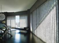 Vignetter Modern Roman Shades from Hunter Douglas in the TraversedT with VertiglideT option. The fabric is the new Newport Linen in Morro Bay. 
