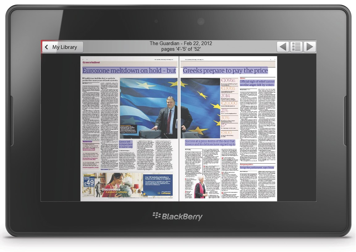 PressReader takes advantage of the BlackBerry PlayBook tablet's high-resolution display to present newspapers and magazines as enhanced digital replicas of printed editions that roll off the presses very day.