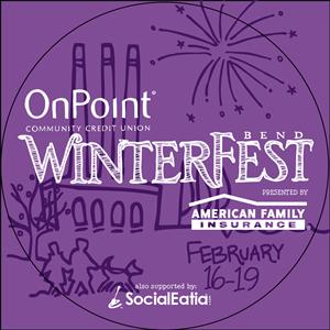 Bend WinterFest button - entry to the event.