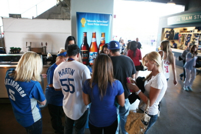 Fans waiting in line for free Hite Beer Samples.