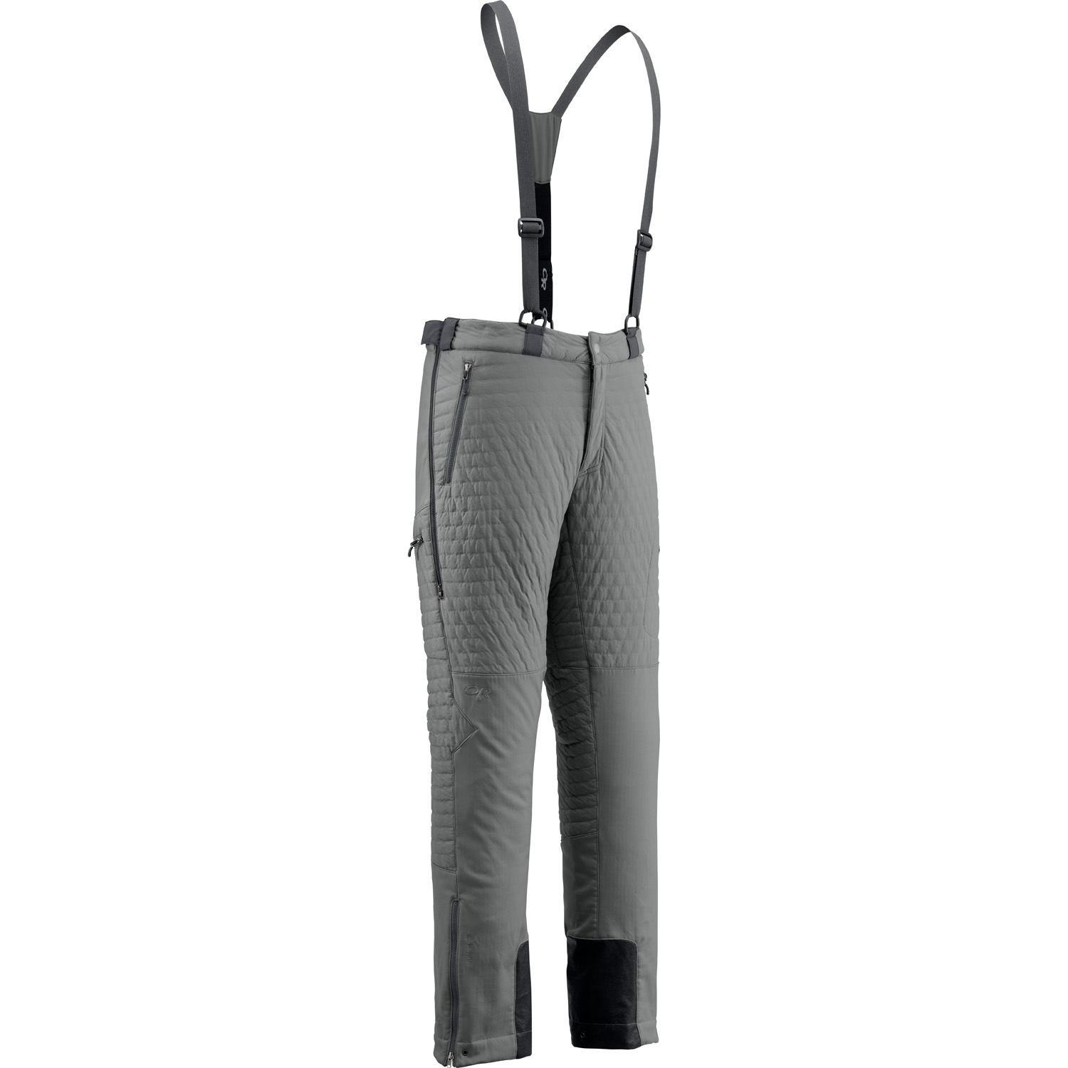 Outdoor Research Lodestar Pant - Melding the warmth of a puffy with the moisture-wicking properties of fleece and the protection of a soft shell, the Lodestar Jacket and Pant were built for ice and alpine climbing in cold climates. They employ new Polartecr Power Shieldr High Loft² , the warmest, lightest and most compressible softshell fabric, and Polartecr Power Shieldr Pro, the ultimate soft shell, in key areas for increased weather protection and warmth while maintaining critical breathability. The result allows climbers to eliminate layers, improve freedom of movement, and transport moisture more effectively through a wider range of cold temperatures and weather conditions.