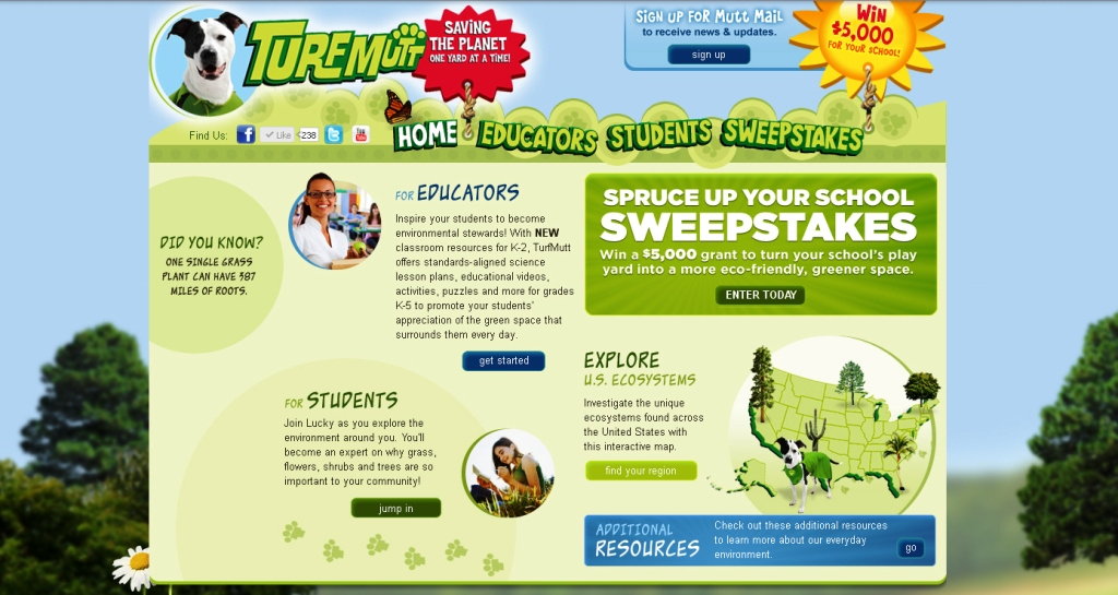 Designed to get students outside investigating the benefits of landscaping and recycling, TurfMutt online lessons and resources help students understand the importance of the green spaces that surround us daily such as lawns, flowers, bushes and trees.