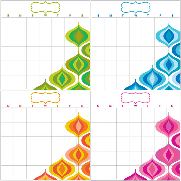 WallPops by Jonathon Adler Wave Four-Piece Dry Erase Calendar set