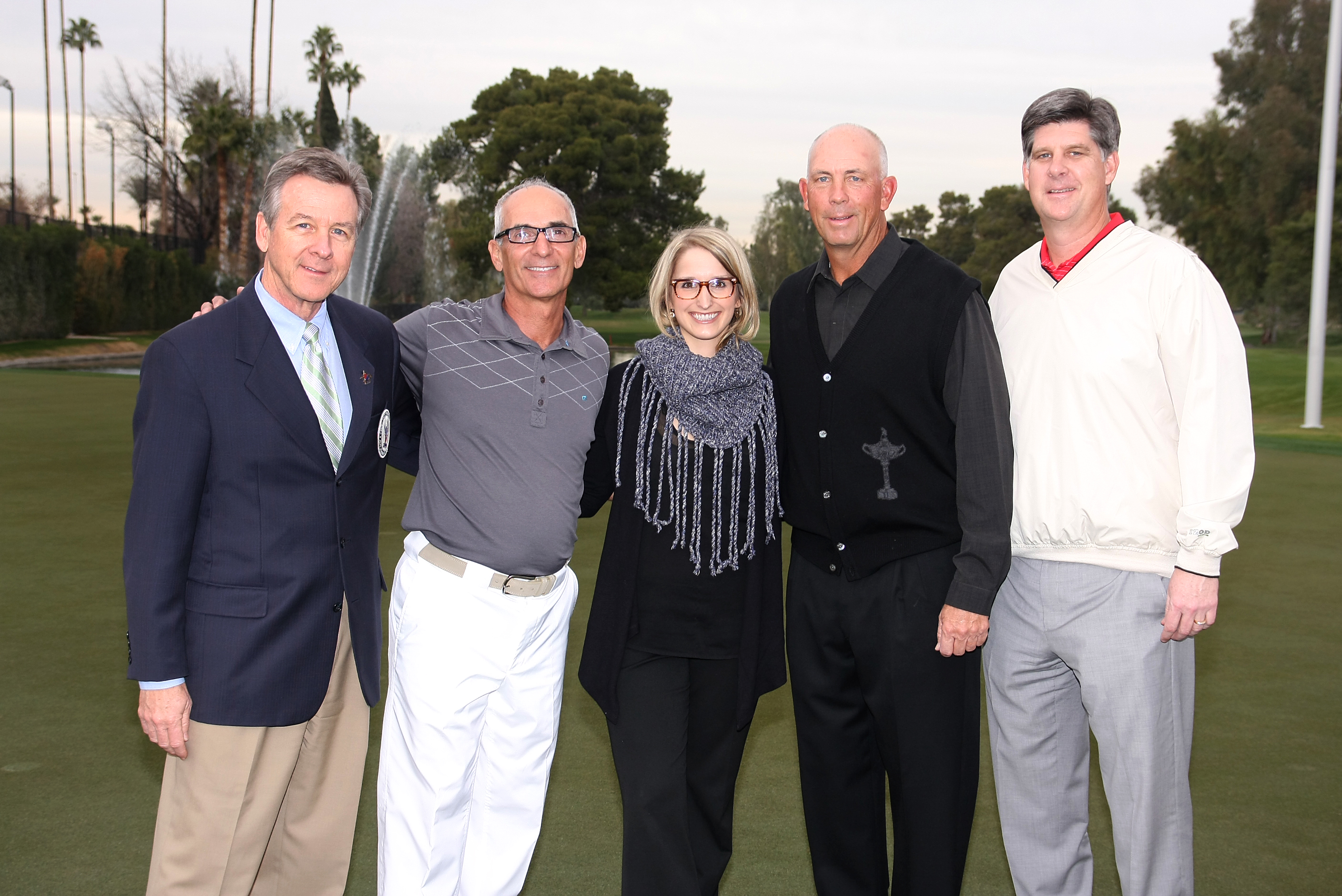 At the Phoenix Country Club History Week Pro-Am: Jeff Mangan, PCC CEO; John Spensieri, History Week Chair; Colleen Pyra, Development Director, Sojourner Center; pro golfer Tom Lehman (2011 Charles Schwab Champion); Beau Lane, VP-Board of Directors