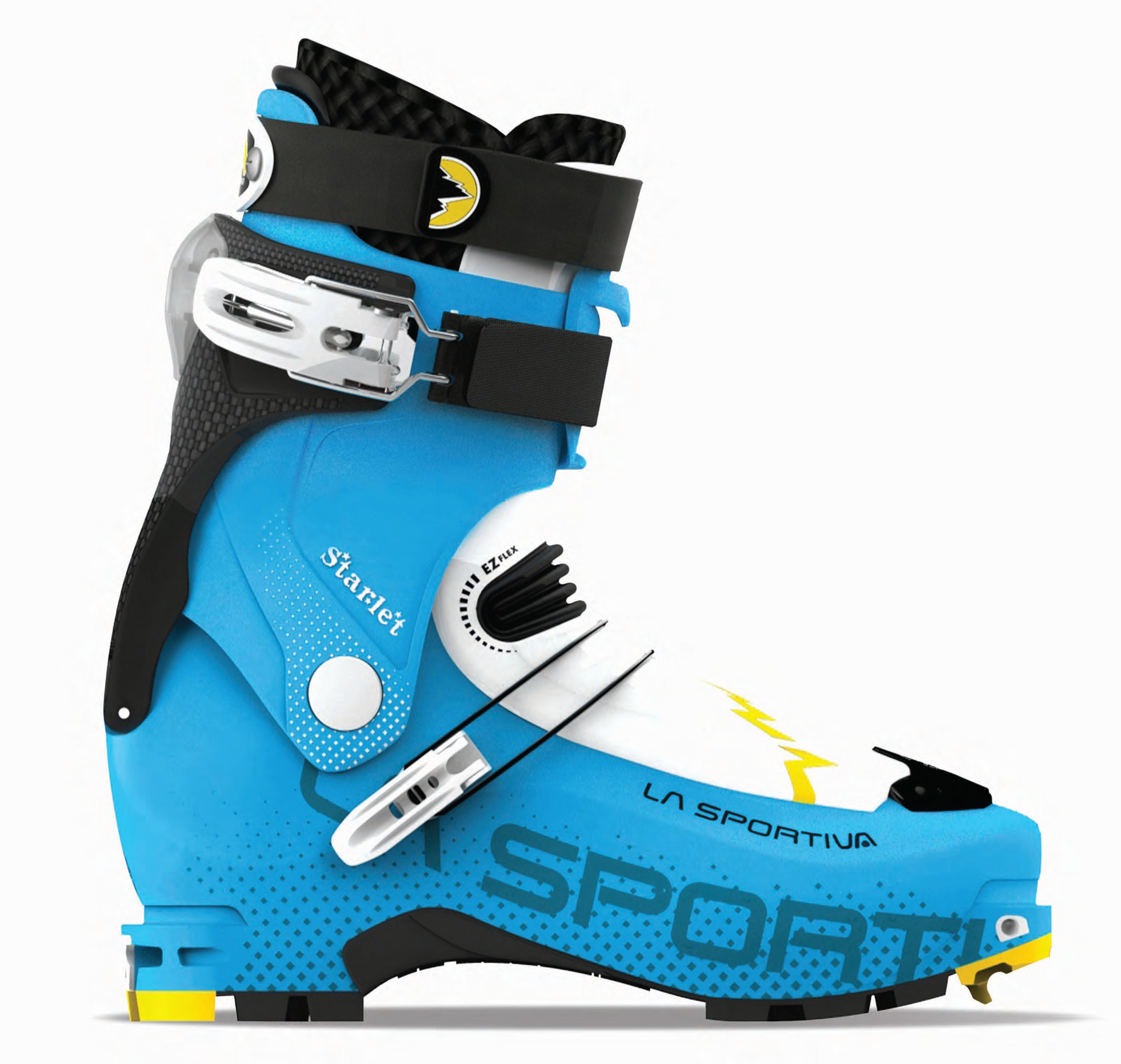 The Starlet boots feature a women's specific cuff made from Grilflexr PEBA polymer that creates a versatile women's ski boot that is perfectly suited for demanding ski tours.