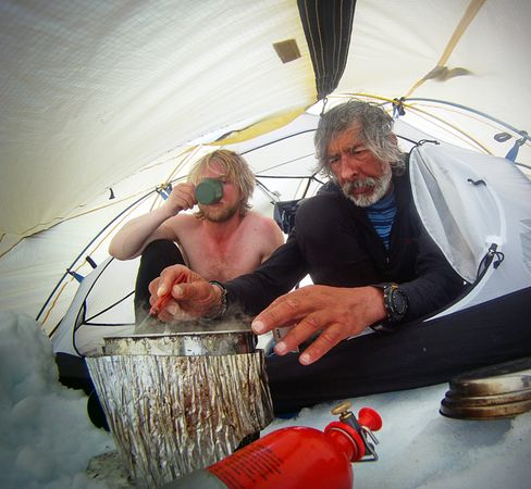 For Ellesmere explorers Jon Turk and Erik Boomer, hot tea, soup, and rest were necessary tonics to the rigors of dragging kayaks across the sea ice. They completed the 1,485-day circumnavigation by kayak, skis, and foot on August 19, 2011.