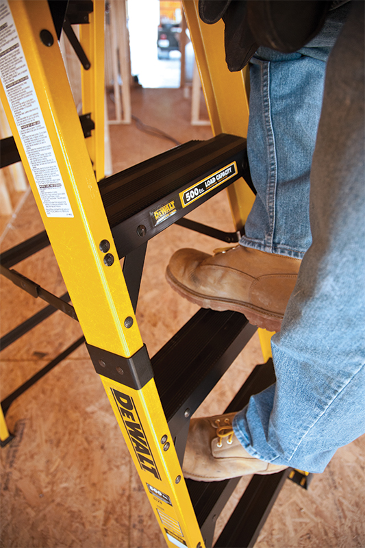 "With 25% more tread surface area than any other stepladder on the market, DEWALT's new stepladders measure 3 3/4"" in depth, while the normal industry standard is 3""."