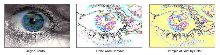 Upload your own photos or images to convert to color trace contours to Paint by Colors