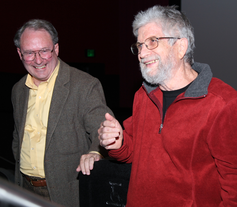 "Cinematographer Barry Broman (left) and Paris based Director Neil Hollander at the Q&A following the 2011 EIFF screening of ""Burma, A Human Tragedy,"" Produced by Anjelica Huston."