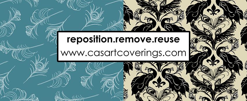 Casart's new Quill and Peacock Damask designs - wallcovering that you can reposition  remove  reuse