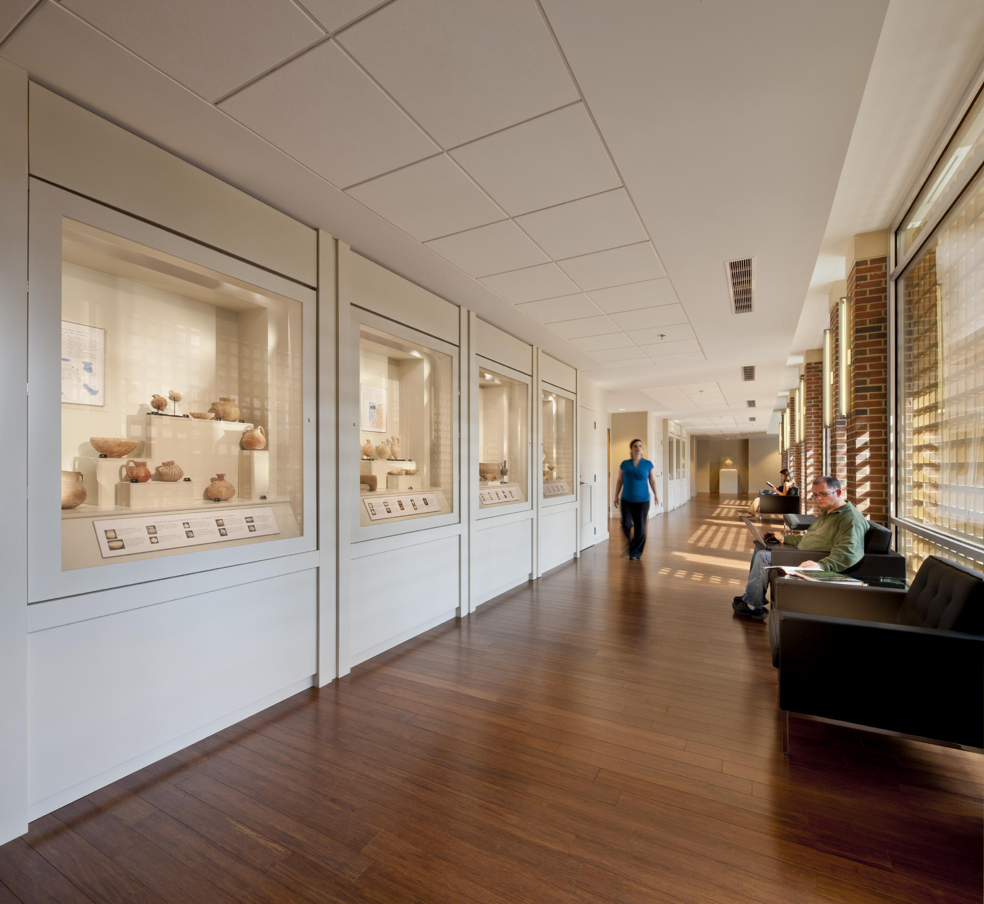 A circulation concourse in one of the new classroom wings doubles as a museum-quality gallery for display of a collection of Biblical antiquities. The artifacts are integrated into the students' educational curriculum. c 2012 Jonathan Hillyer / Atlanta
