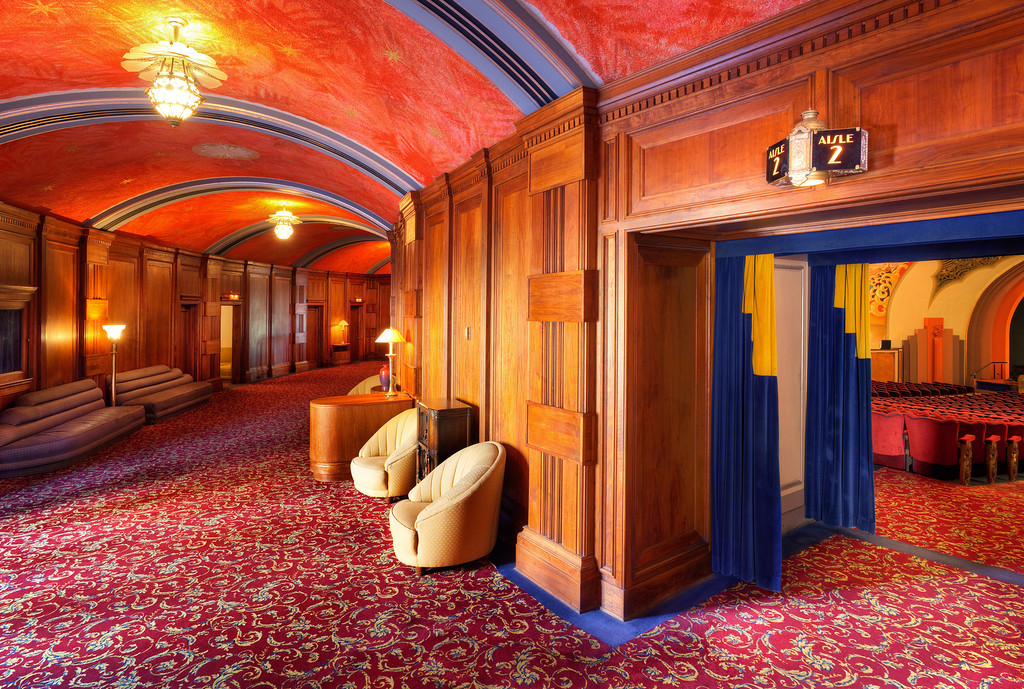 The hallway outside the Avalon Movie Theater in the historic Casino Building.