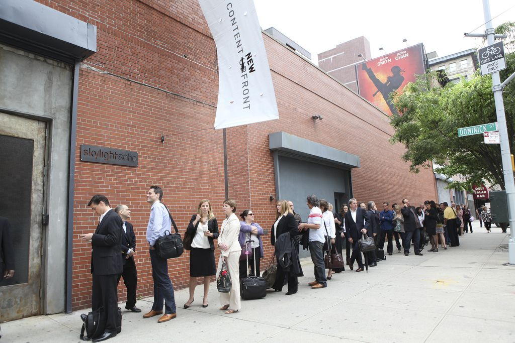 People lining up to see The Digitas NewFront.
