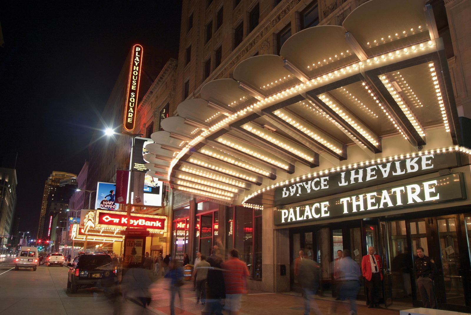 Each year more than 1 million guests visit the opulent theaters at PlayhouseSquare for more than 1,000 annual events including Broadway's best shows, international and national performing acts and musicians. 