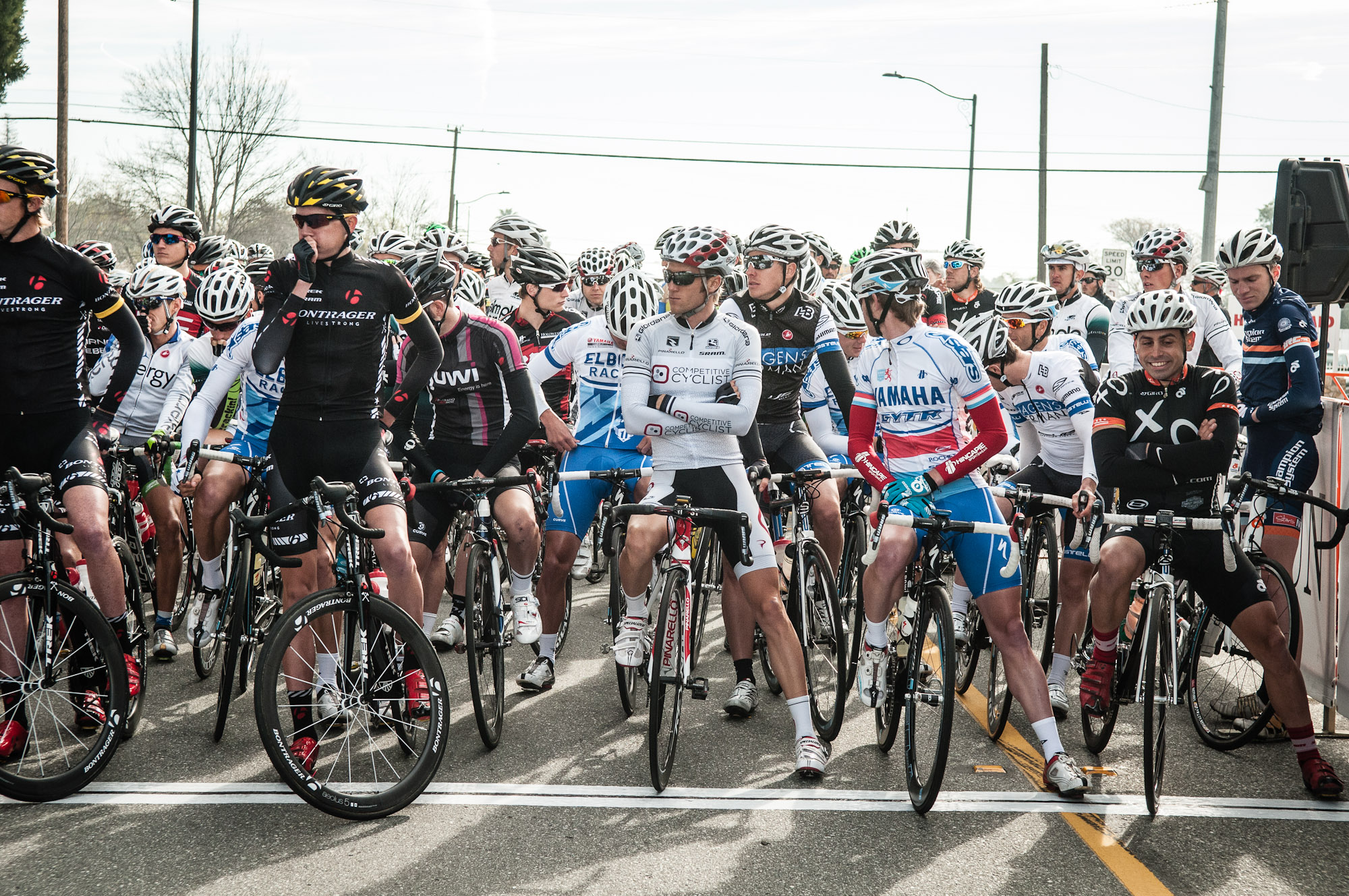 At the starting line for Stage 1: City of Beaumont Circuit Road Race. Photo: Tommy Chandler/Competitive Cyclist.