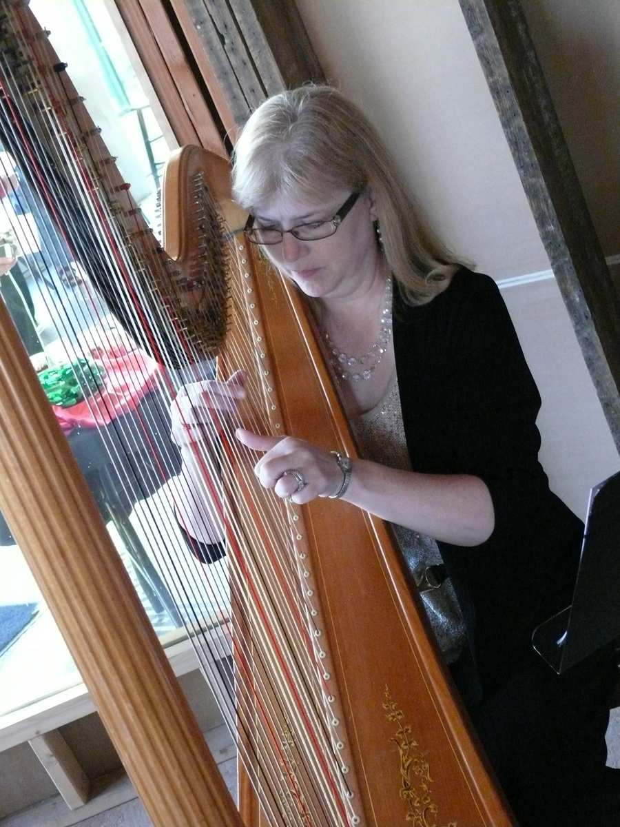 Harpist Kathy Stewart at Pearls and Pinot