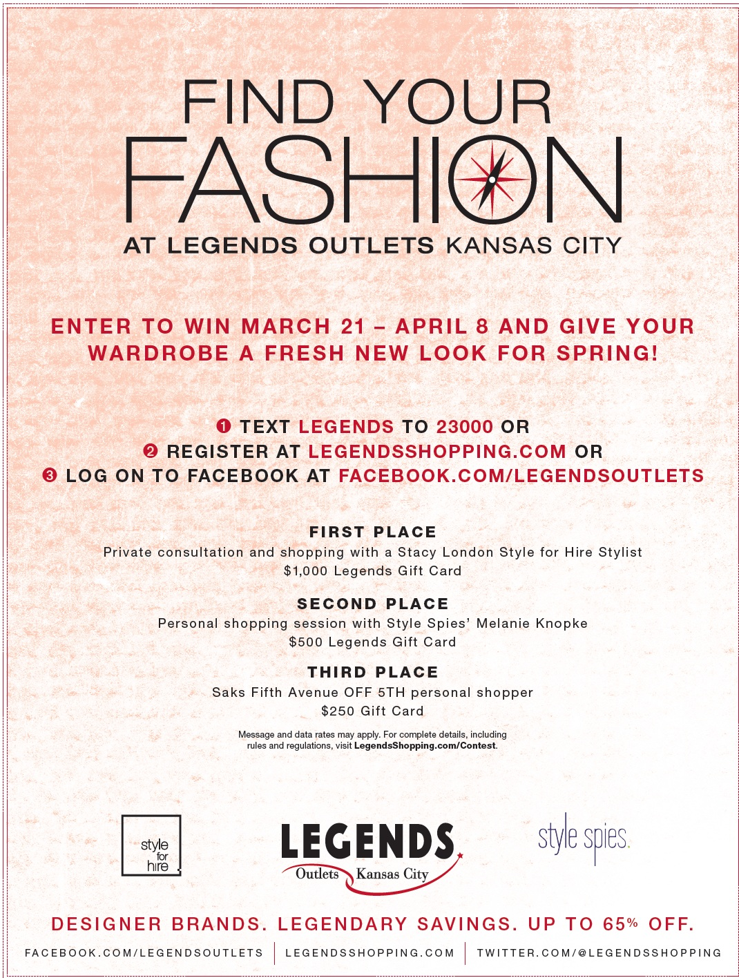 Find your fashion at Legends Outlets Kansas City, with a style promotion from March 21 - April 8 and give your wardrobe a fresh new look for spring! (click image to enlarge and/or save.)