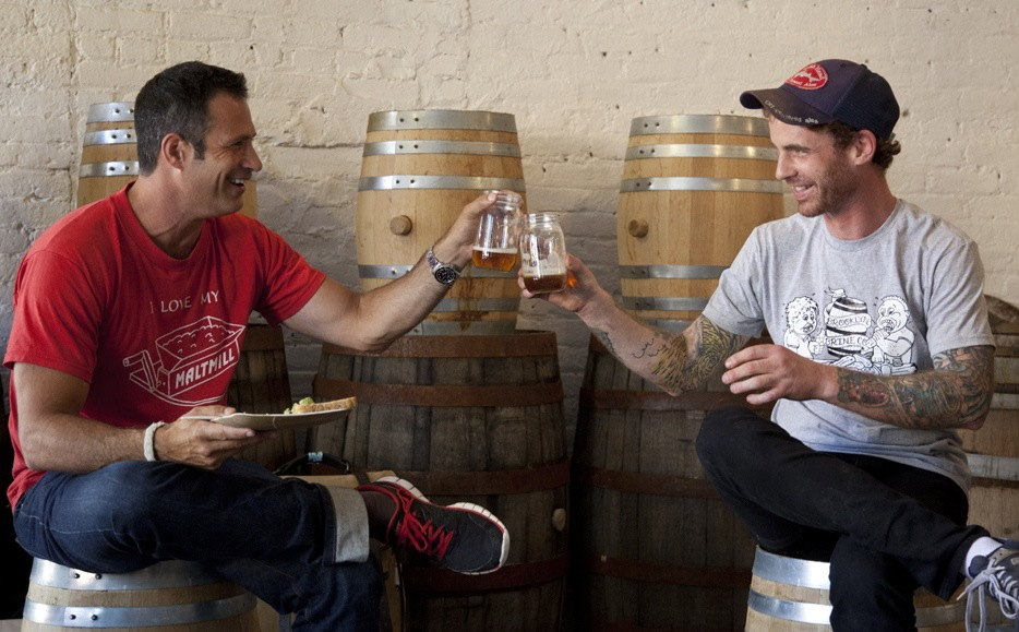 Dogfish Head's Sam Calagione and Brooklyn Brine's Shamus Jones raise a toast to the Hop-Pickle.