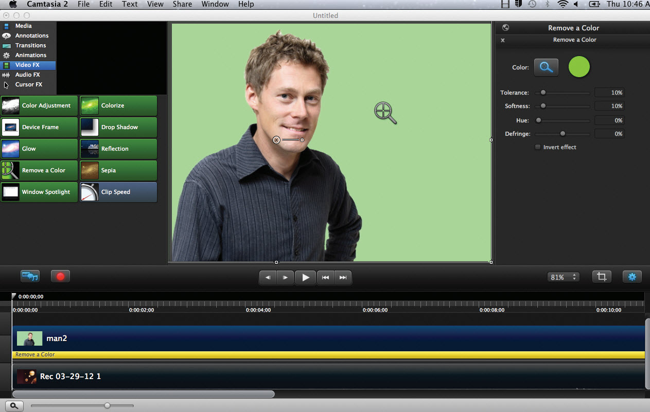 Remove A Color (Chroma Key/Green Screen) provides users with more options to adjust video coloring, including the ability to create a green screen effect, removing any color from video to achieve transparency just like meteorologists on television