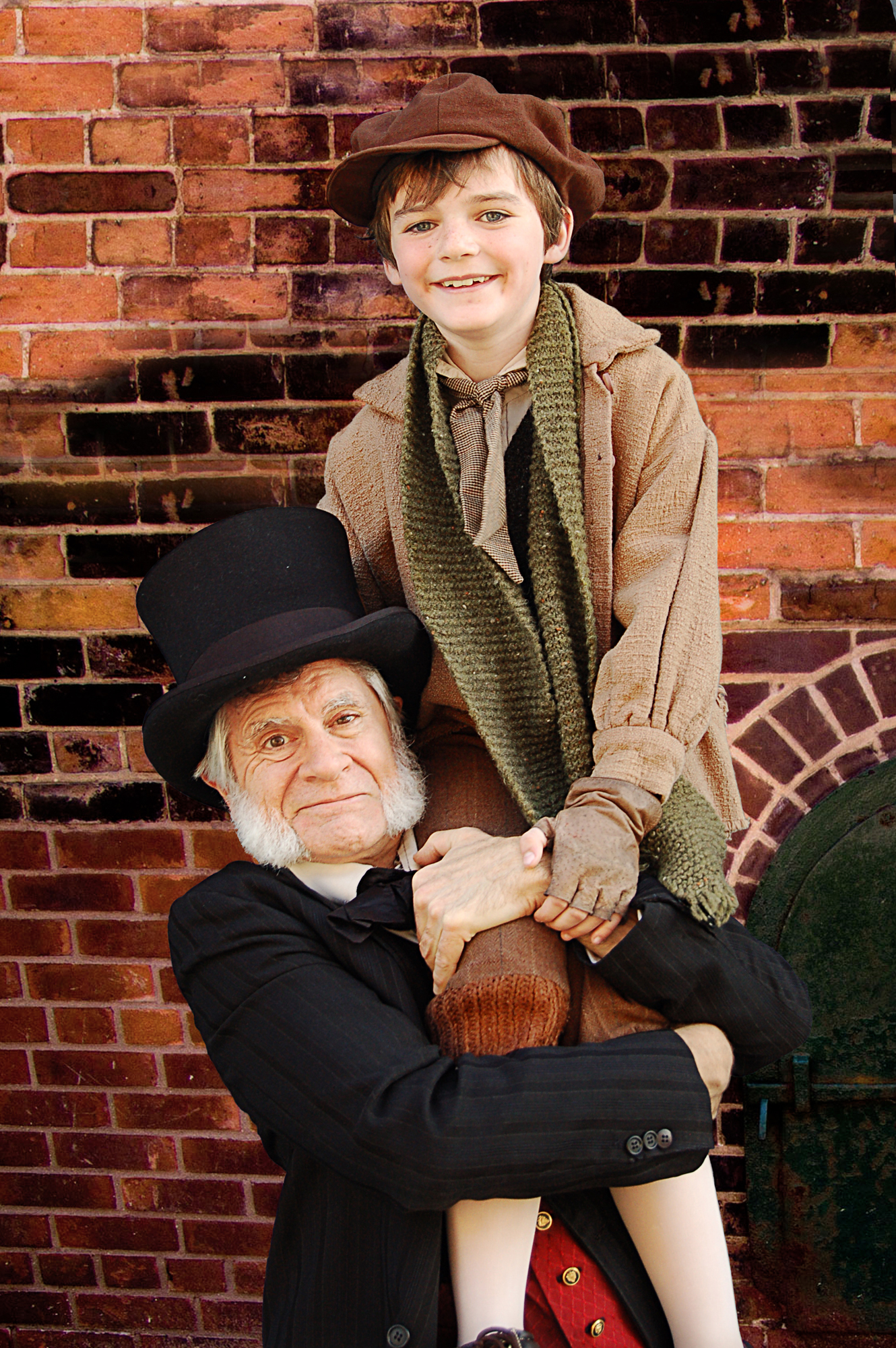 (l to r): Richard Farrell as Scrooge and Everett Meckler as Tiny Tim in San Jose Rep's A Christmas Carol.