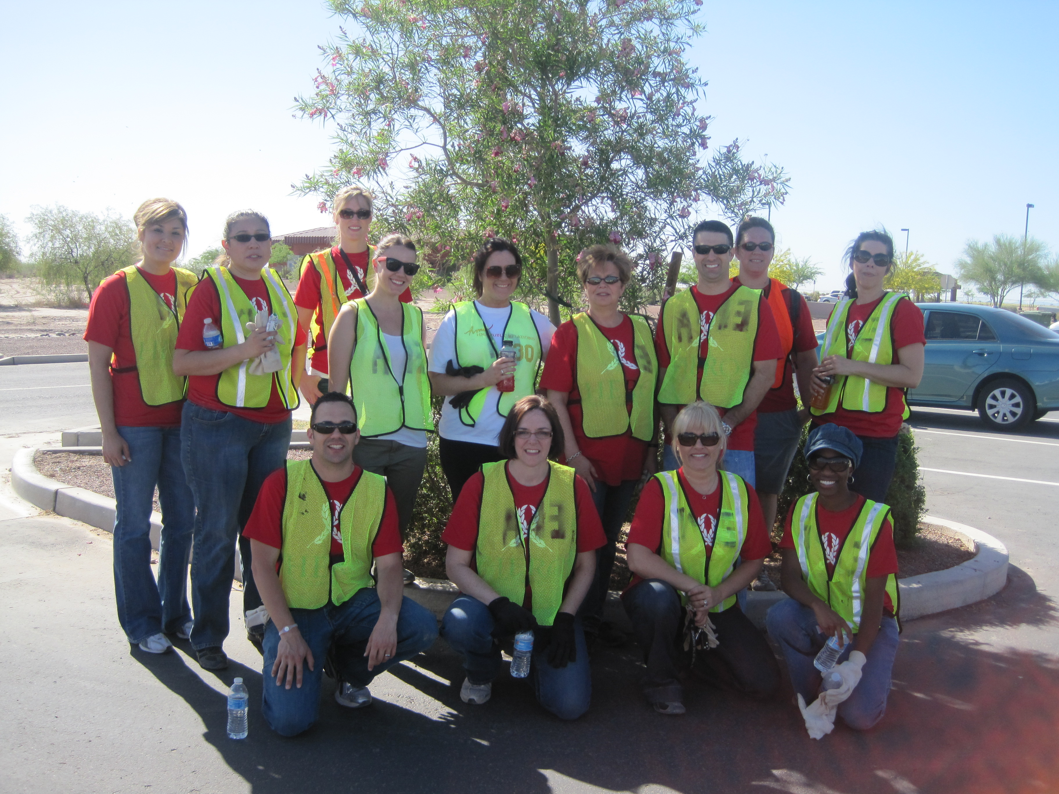 Harrah's Ak-Chin employees giving back by cleaning up the community on Earth Day.