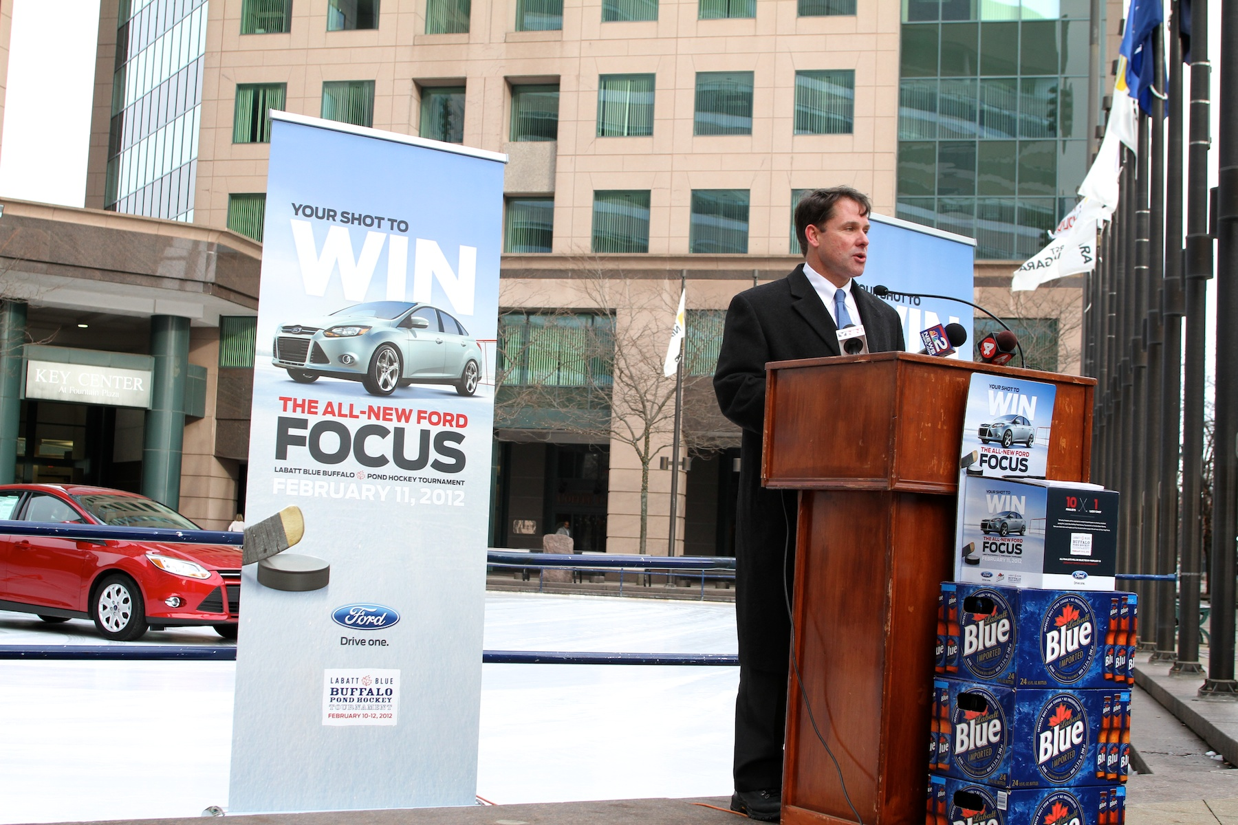 WNY Ford Dealers' Frank Downing announces details of 2012 Ford Focus Hockey Shootout.