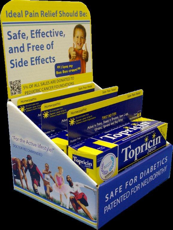 The new Topricin retail vertical display units hold six 1.5-ounce tubes of Topricin Junior