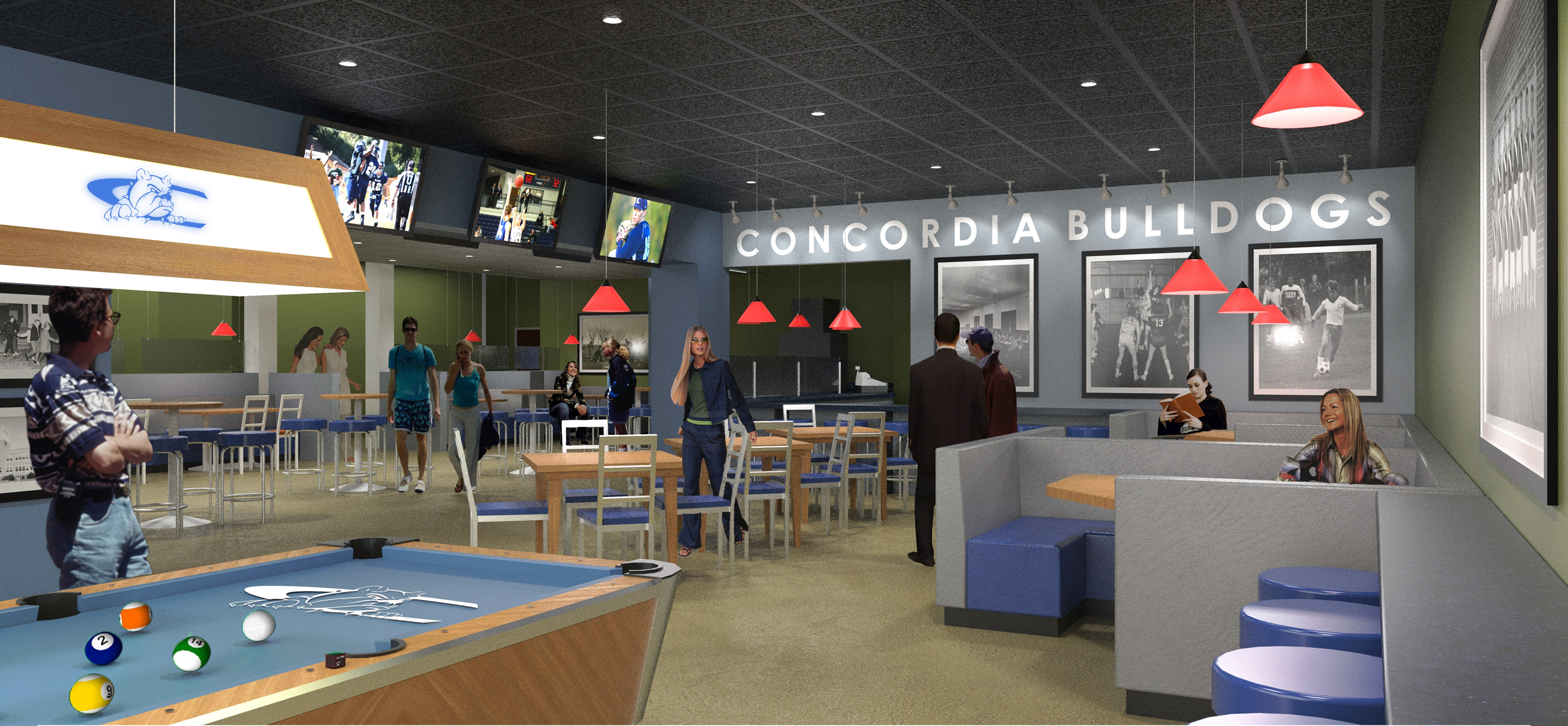 The addition of a grill-style dining area, named the Dog House Grill, is a part of a $1 million renovation project underway at the Janzow Campus Center at Concordia University, Nebraska as shown in this 3-D rendering.