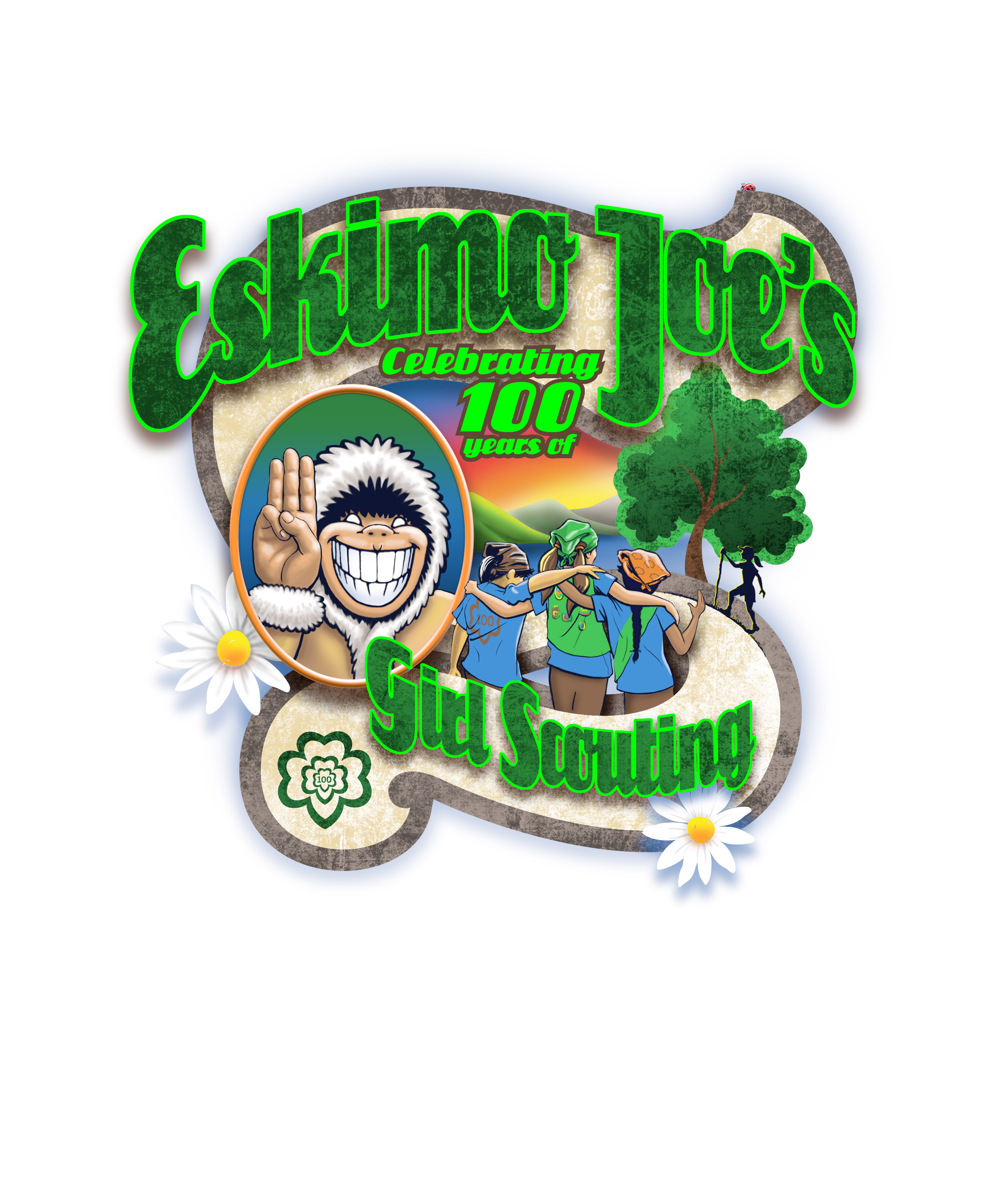 Front detail of Girl Scouts 100th anniversary t-shirt by Eskimo Joe's
