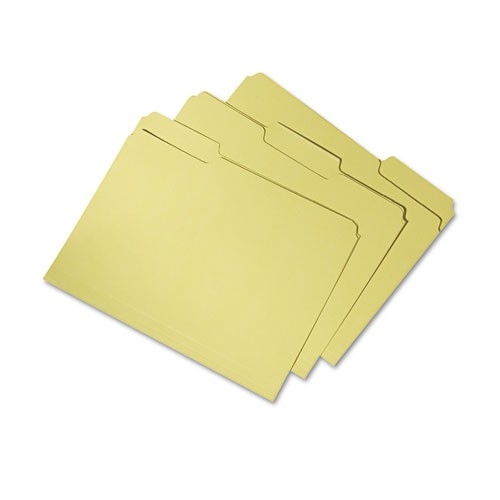 AbilityOne 7530015664136 File Folders, 1/3 Cut Double Ply Letter, Yellow, 100/Box