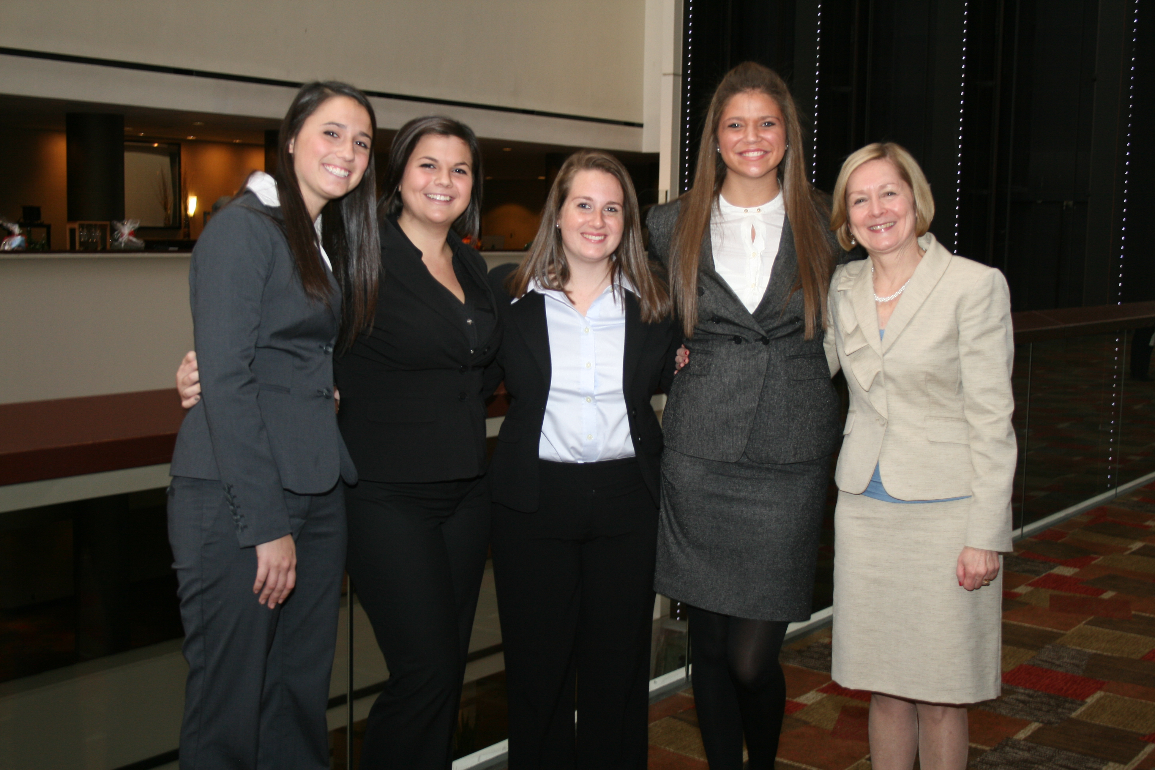 The winning team from Saint Mary's College included Allison Courtney, Maggie DePaola, Kathryn Gutrich and Chelsea Pacconi. Mary Ann Merryman was the faculty advisor.