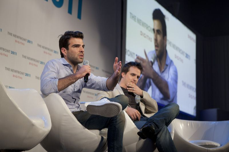 Actor Zachary Quinto pitches his new web series with production partner Neal Dodson at the 2011 Digitas NewFront.