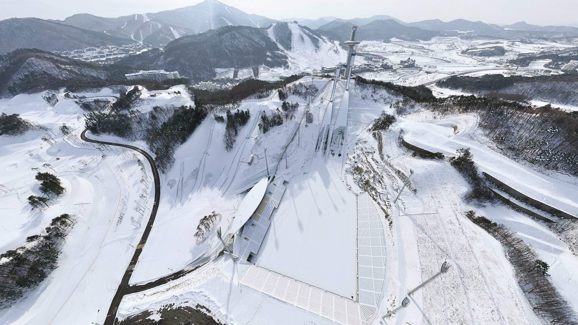 Winter sports competitions are already being held at PyeongChang's Alpensia facilities ahead of the 2018 Olympics, giving Korea a jump-ahead of most world-level sports competitions. Image courtesy Alpensia.