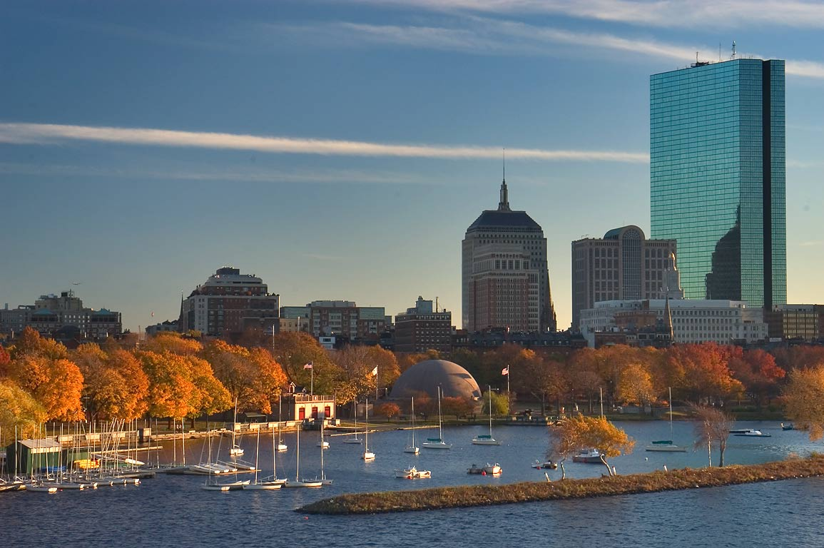 Charles River and Hatch Memorial Shell, view from Longfellow Bridge. Boston MA