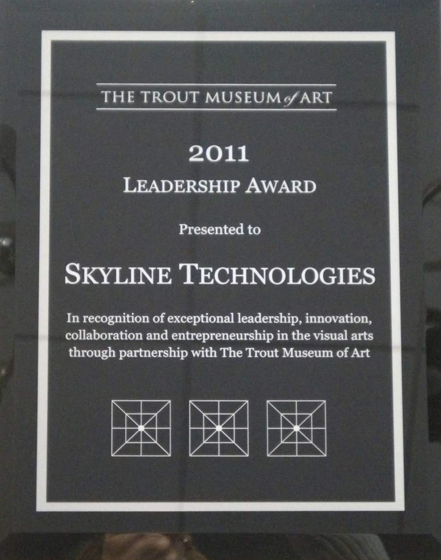 The Trout Museum of Art Leadership Award presented to Skyline Technologies.