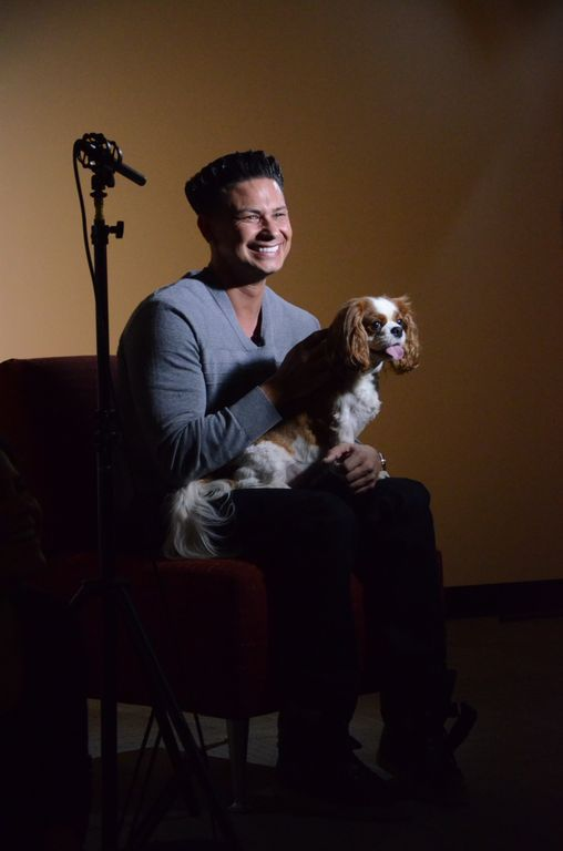 Pauly D is all smiles as he sits down with Ruby for a PSA to help raise awareness for #SandyPets