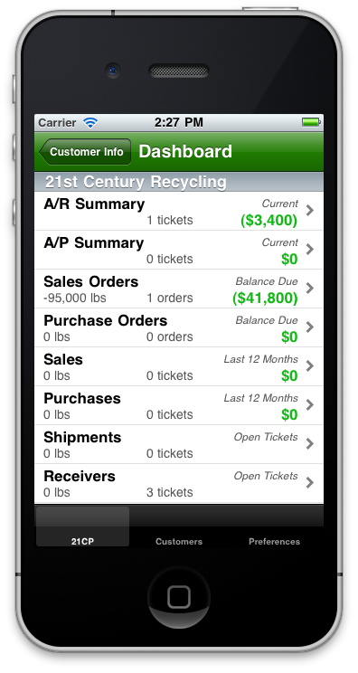 iROM for iPhone - Dashboard. Access your operations data from anywhere on the road - right from your phone!
