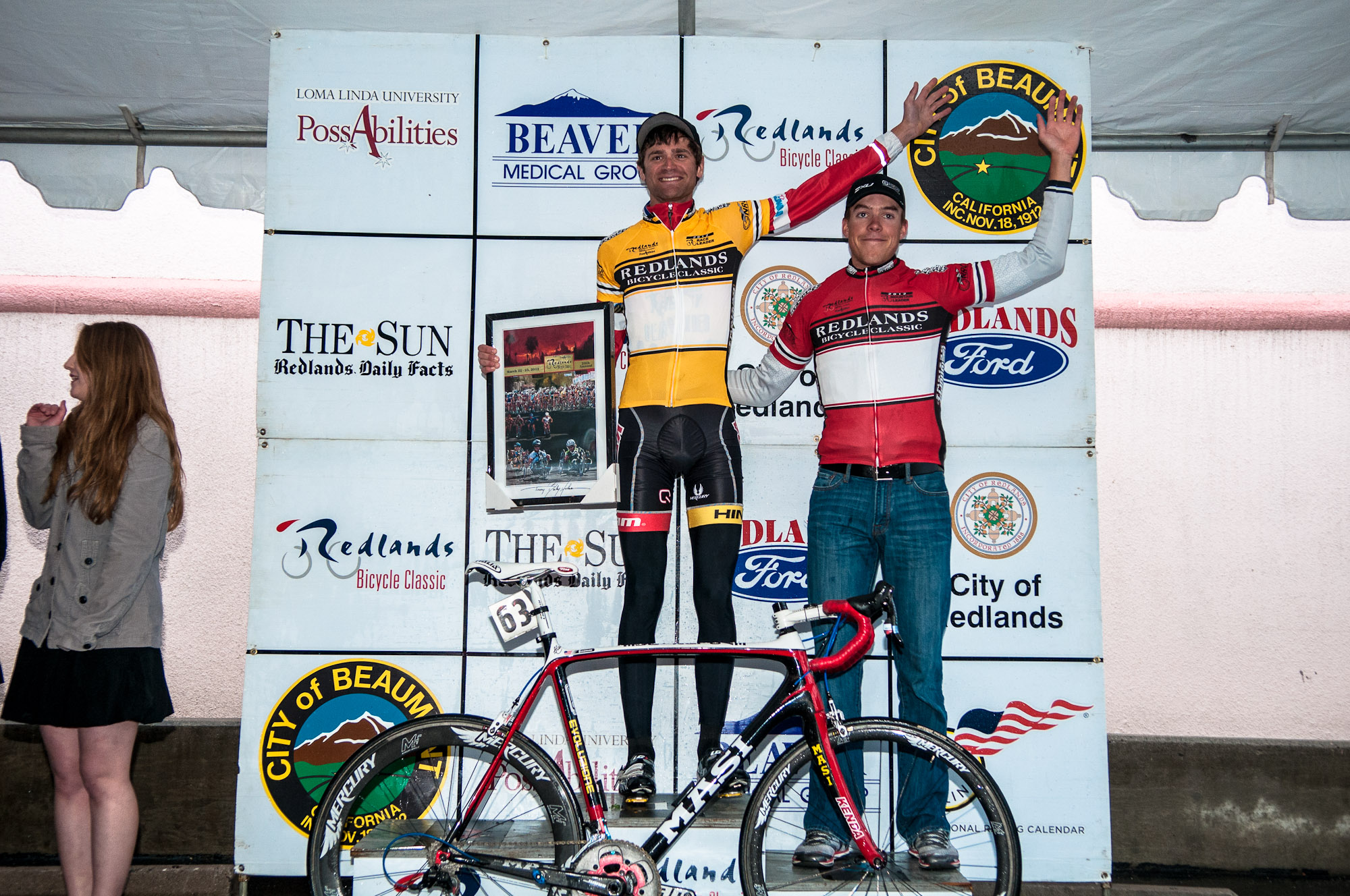 The Red Jersey: Taylor Shelden captures the overall King of the Mountain (KOM) title at the Redlands Bicycle Classic. Photo: Tommy Chandler/Competitive Cyclist.