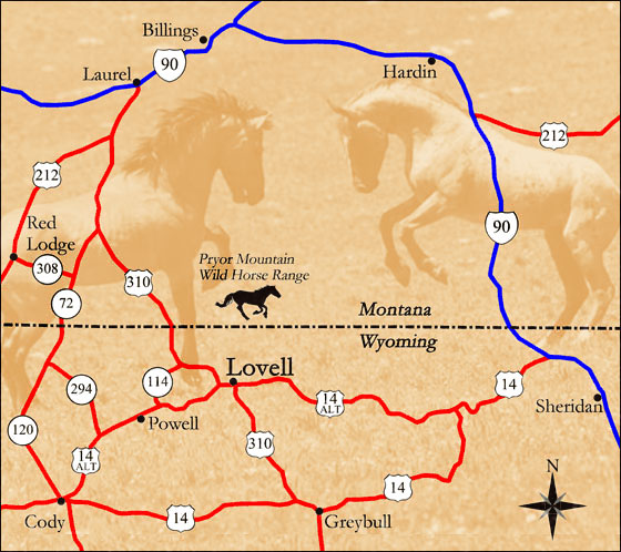 Map of the Pryor Mountain Wild Mustang Range