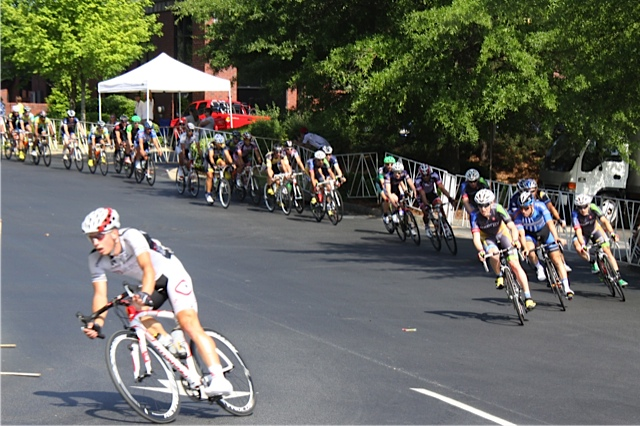 David Williams breaking away at the Global Imports Sandy Springs Cycling. Photo Credit: Barbara Dowd