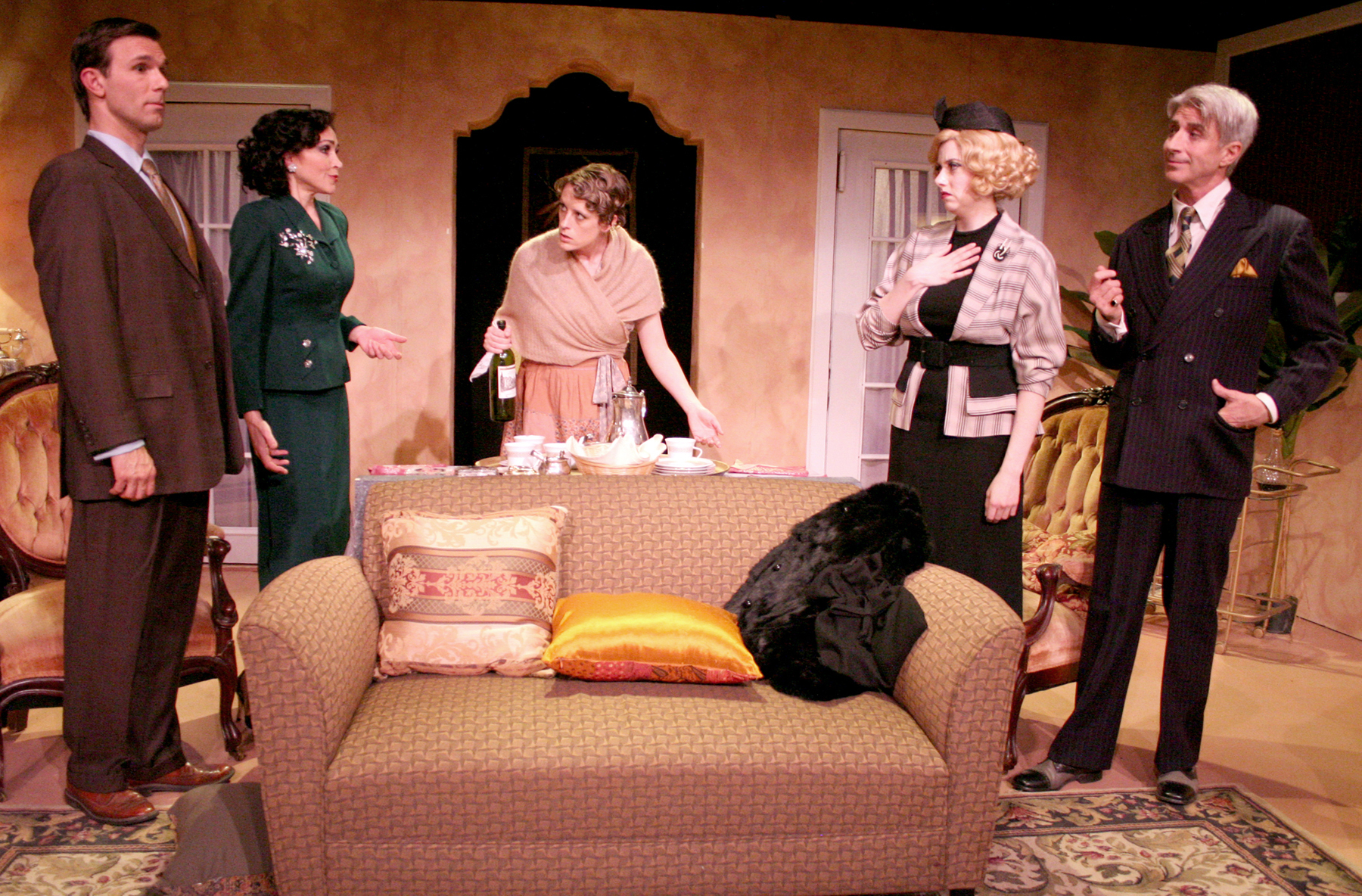 L to R: Jeff Witzke, Stasha Surdyke, Angie Light, Annie Abrams, and Lenny Von Dohlen in PRIVATE LIVES. 
