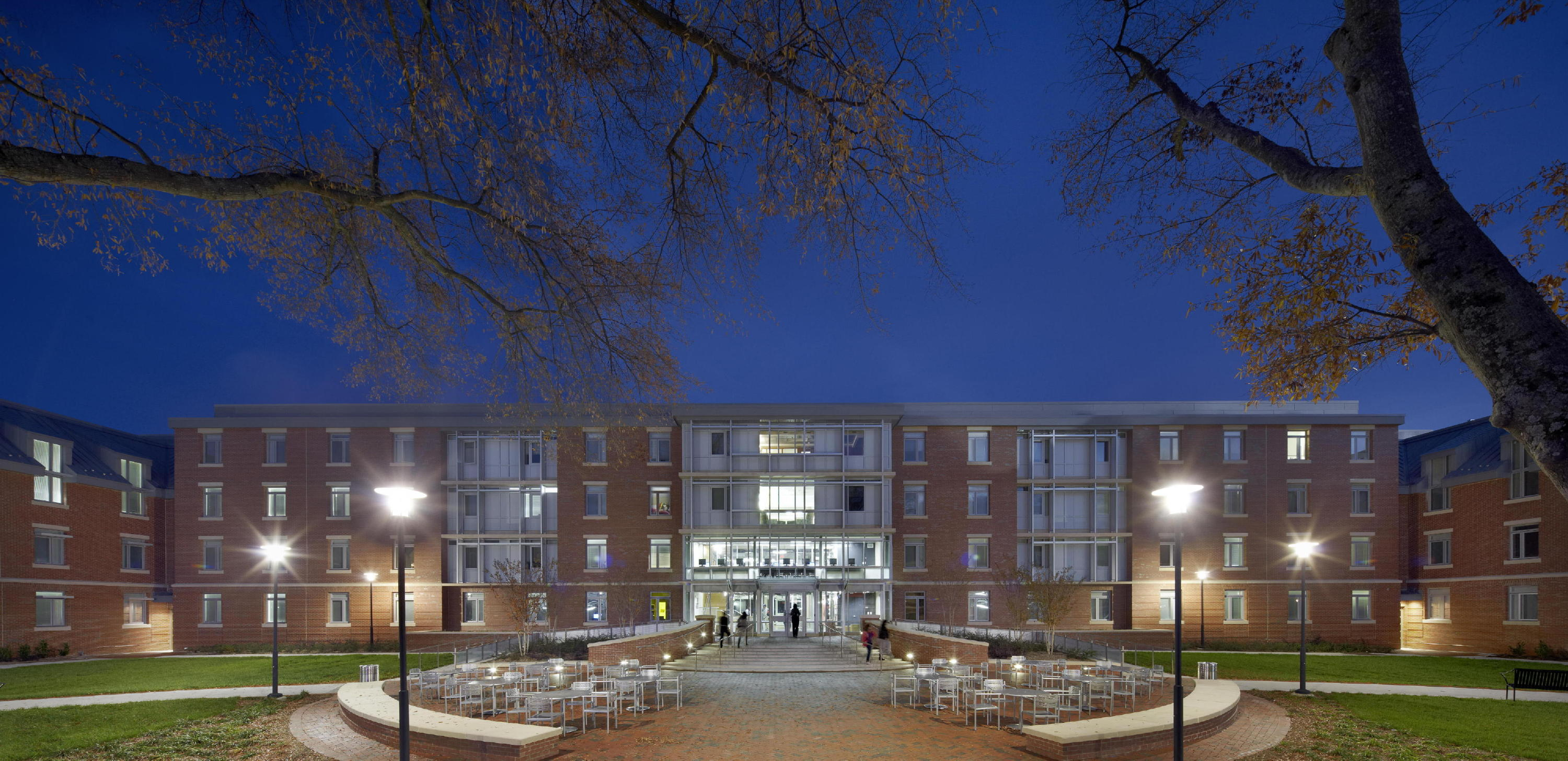 Chidley North Residence Hall at NCCU is a C-shaped structure. The building's inner exterior façade faces the university's Chidley Main Residence Hall, forming a courtyard used by students for relaxation, group activities and studying. c James West /JWest Productions