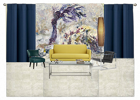 Concept: Impasto Tree Painting as a Casart removable and reusable mural with mid-century furnishings