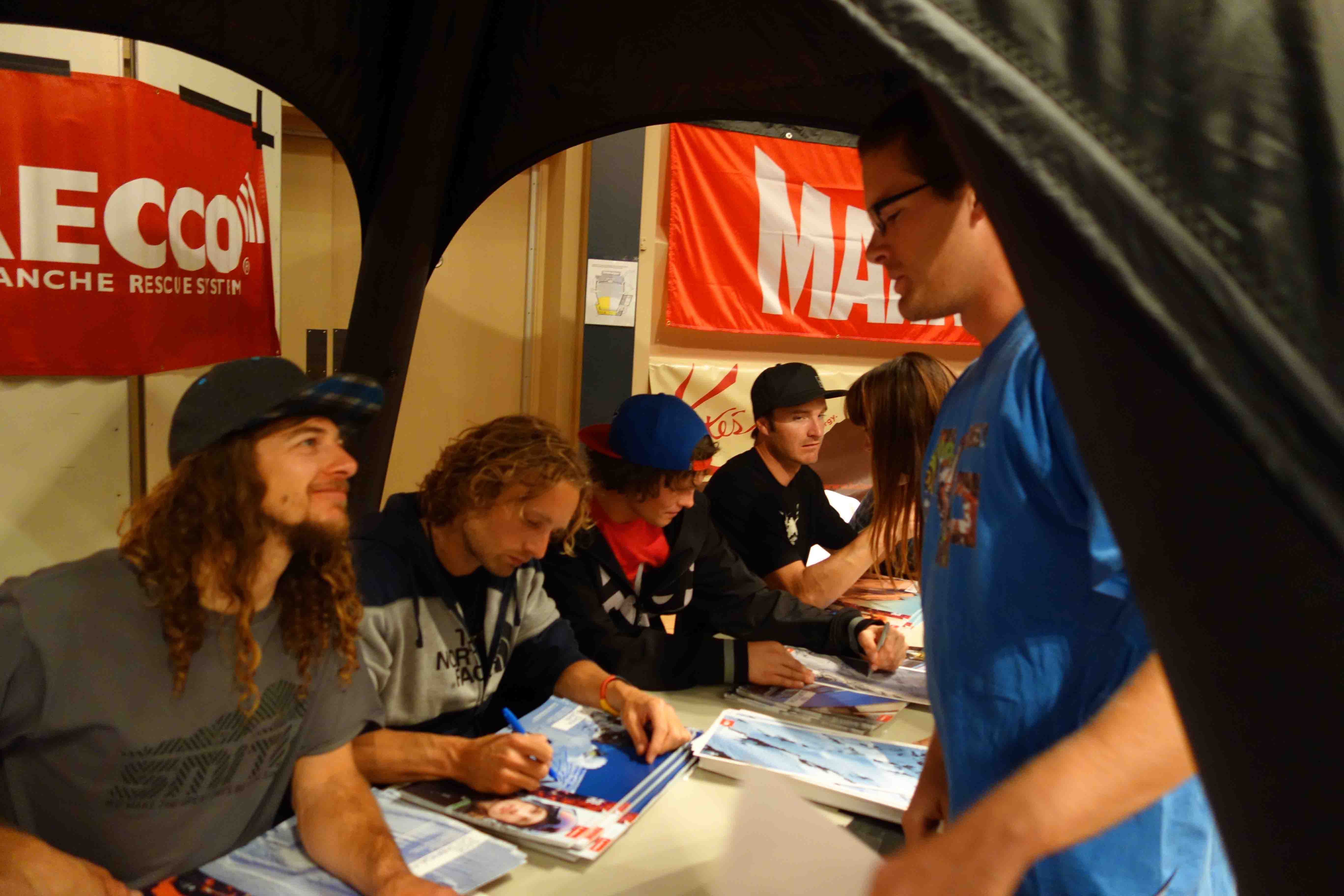 Sage Cattabriga-Alosa, Dana Flahr, Tim Durtschi & Todd Ligare sign Atomic posters. Photo: Greg FItzsimmons