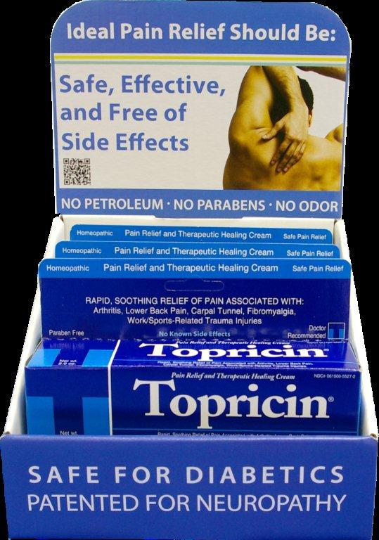 The new Topricin retail vertical display units hold six 2-ounce tubes of  original Topricin Pain Relief &amp; Healing Cream
