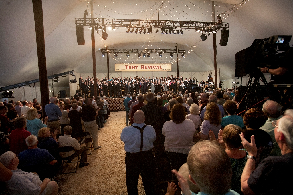 & Gaithers Film Homecoming Tent Revival Special at Billy Graham Library